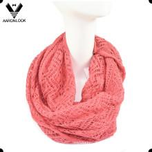 Mulheres Wave Pattern Knit Jacquard Infinity Scarf