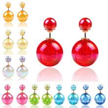 Brincos para mulher meninas dupla face cores Bola de cristal dois fins Studs brinco