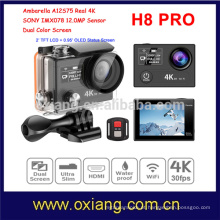 Ambarella A12 Ultra HD 4 K 30fps / 1080 P 120fps à prova d 'água Esporte Action Camera H8R PRO com wi-fi relógio remoto Dual Screen