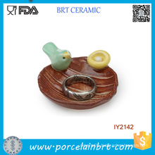Lovely Bird Aroud The Edge Ceramic Home Decor Jewelry Tray