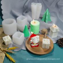 Food Grade Christmas Decorative Tools Handmade DIY Santa Claus Christmas Tree Mould Christmas Candle Mold Silicone