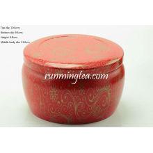 Big Red Vivid Flower Malerei Runde Tin Kanister Für Matcha