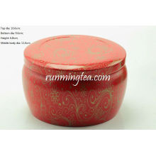 Big Red Vivid Flower Painting Round Tin Canister Pour Matcha