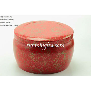 Big Red Vivid Flower Painting Round Tin Canister For Matcha