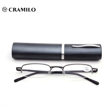 Half frame reading glasses with pen case