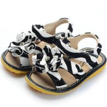 Zebra Printing Big Flower Baby Sandals