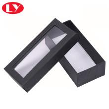 Caja de cartón negra con ventana transparente de PVC