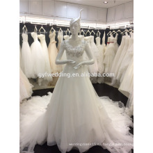 Nuevo vestido de boda del envío libre hecho en los vestidos de boda largos cristalinos Tulle del vestido del vestido de bola de China Tulle Turquía Istabul A072