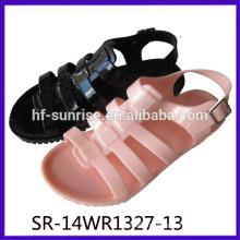 SR-14WR1327-13 мода новые сандалии желе леди оптовые желе сандалии женщин плоской пяткой желе сандалии