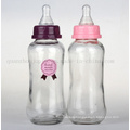 OEM Print Logo Baby Glass Feeding Bottle with Pacifier