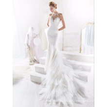 Vestido de noiva de sereia de marfim de renda