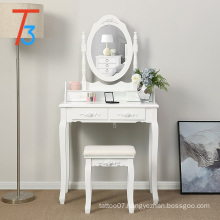 modern white wooden dressing table with stools