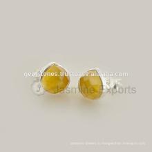 925 Стерлингового Серебра Желтый Оникс Драгоценных Камней Серьги, Изготовление Ручной Работы Драгоценного Камня Серьги Ювелирных Изделий
