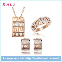 18k gold plated Austrian crystal fashionable jewelry vintage design fashion women jewelry set for festival gift