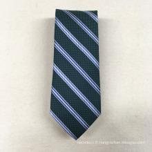 Pas cher Marque privée Minion Polyester Jacquard Meadan Green Stripe Mens Nouveauté Cravate