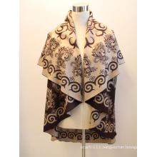 Lady Fashion Round Viscose Woven Jacquard Shawl Cape (YKY4417-2)