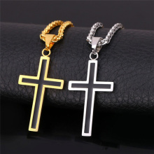 Cross Necklace For Men Jewelry 316L Stainless Steel 18K Gold Plated Religious Christian Black Cross Pendant
