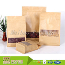 Customized Food Grade Packaging Ziplock Laminated Material Kraft Paper Bags Flat Bottom Pouch With Window