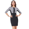 Kate Kasin Womens 3/4 Sleeve Optical Illusion Body con Dress Pencil Business Dress KK000222-1