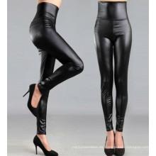 Leggings de cuero negro de alta cintura para las mujeres, Negro Faux Leather Pants, Leggings