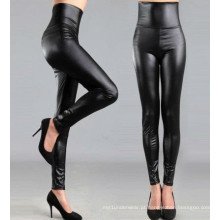 Alta cintura preto couro leggings para as mulheres, preto falso couro calças, perneiras