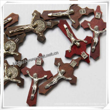 Wood Catholic Medals Cross Pendant with Rosary (IO-cw033)
