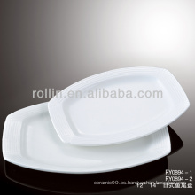 Vajilla agradable de cerámica blanca de porcelana