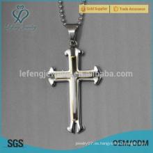 Colgante de la cruz del collar del acero inoxidable del oro blanco de los hombres