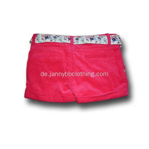 Baby-Mädchen rote Baumwoll-Cord-Shorts