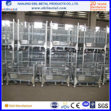 Foldable Stackable Galvanized Wire Steel Container for Warehouse Storage