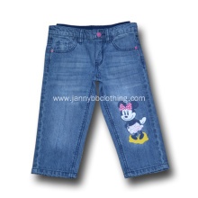 elastic waist blue jeans with print