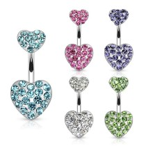 CZ Paved Heart Belly Button Rings