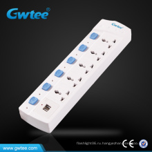 6-контактный универсальный USB-порт зарядного устройства электрическая розетка с индивидуальным выключателем