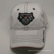 100% Baumwoll-Stickerei-Abzeichen weißer Baseballmütze
