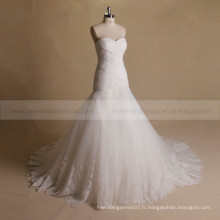 Adorable Mermaid Sweet Heart Robe de mariée en dentelle plissée exquis Tulle