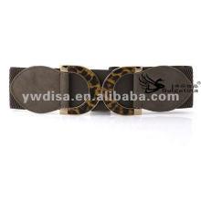 Мода Серый PU упругие ремни Leopard металла Bukle широкий упругие PU ремни с заводской цене BC2233-2