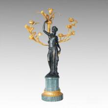 Escultura de bronce Tpch-030j / 031j de la estatua del sostenedor de vela Rose Candlestick de la estatua