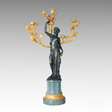 Candle Holder Statue Rose Lady Candlestick Bronze Sculpture Tpch-030j / 031j