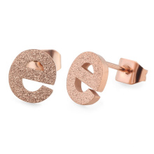 Simple Stainless Steel Frosted Sandblasted Alphabet Letter Initial Ear Stud Earrings