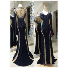 Navy Top Sale Mermaid EU 32-40 Heavy Beading Evening Dress