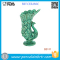 Auffällige fließende Federn Peacock Green Keramik Vase