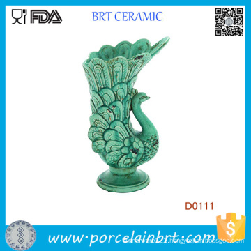 Showy Flowing Feathers Peacock Green Ceramic Vase