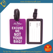 Custom Hot Sale High Quality Purple PVC Luggage Tag for Travel