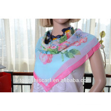 Latest fashionable flower printed square scarf and hot selling scarf