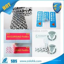 Venta al por mayor China Tamper Evident Garantía Void etiqueta de seguridad con el logotipo privado