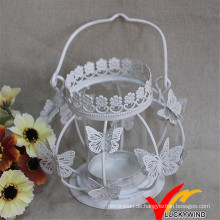 Handwerk Weiß Antique Schmetterling Teelicht Halter Metall
