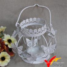 Artesanía Blanco Antiguo Tealight de la mariposa Metal