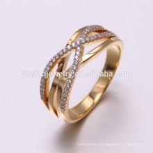 Fabrikpreis 18K Gold Fingerring Weißgoldschmucksachen ebnen silberner Ringentwurf der Einstellung 925 ein