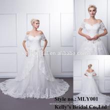 2016 Ballkleid Weiche Tüll Brautkleid mit gestickten Spitze Sequins Perlen Kristalle Boot Hals 3/4 Brautkleid Brautkleid