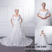 2016 бальное платье мягкий тюль свадебные платье с Вышито кружева бисер блестки лодка шеи кристаллы 3/4 платье свадебное свадебное платье
